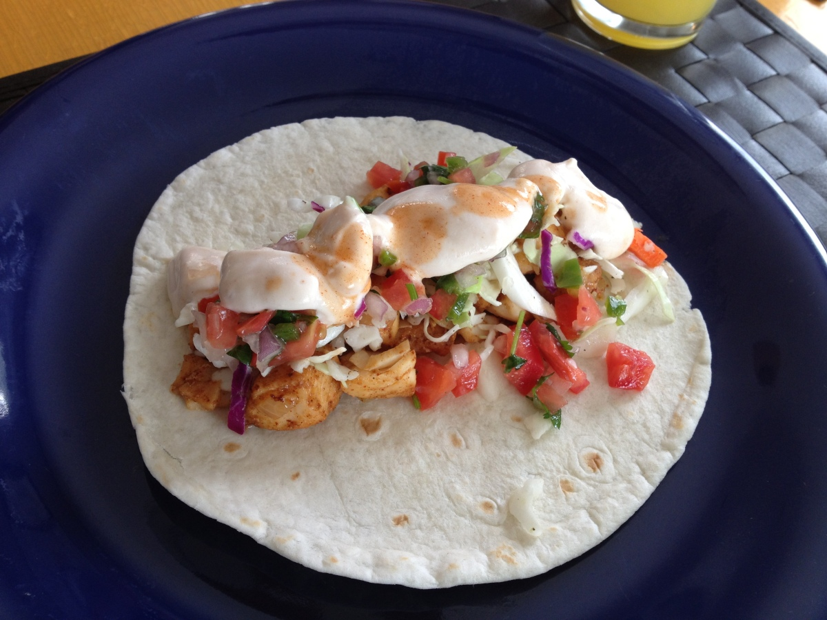 Fish tacos life is better red for Fish taco menu