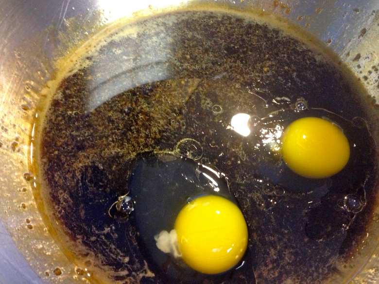 Add eggs and oil to the stout mixture
