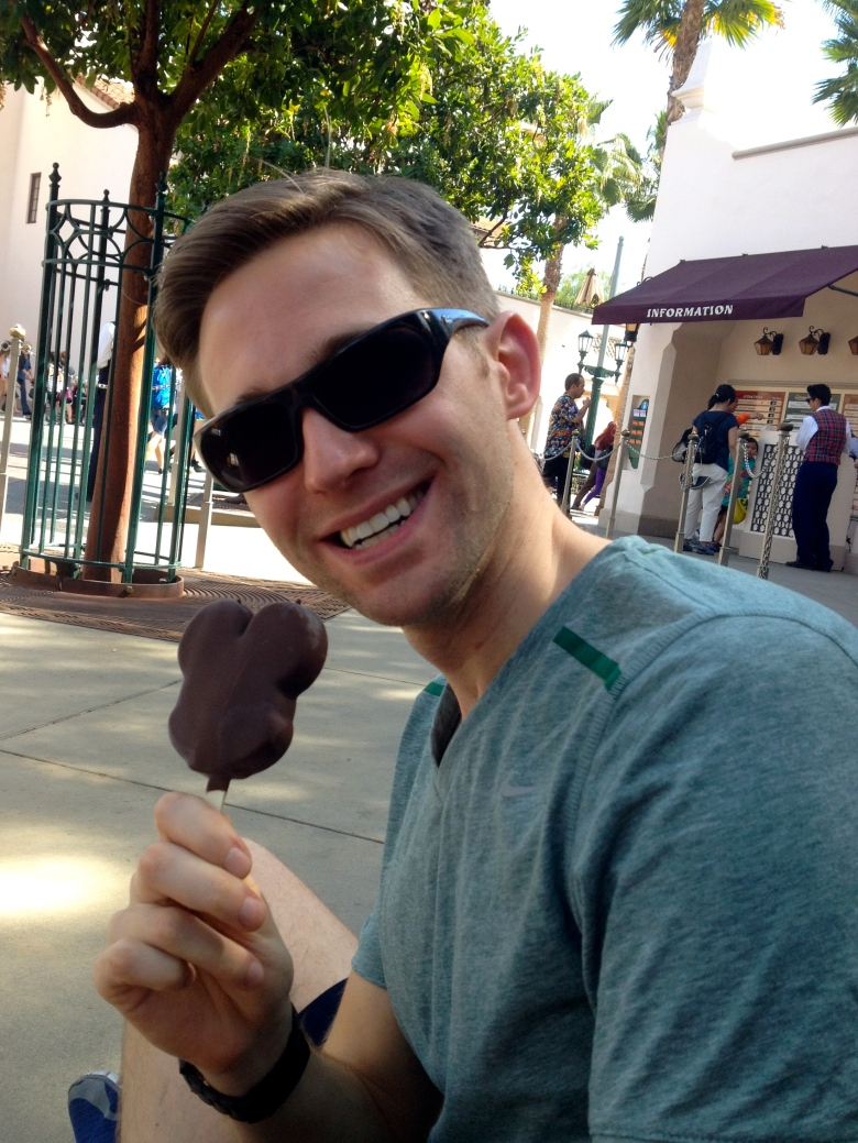 Nick enjoying a Mickey Bar