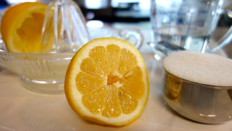 Lemon, sugar and water