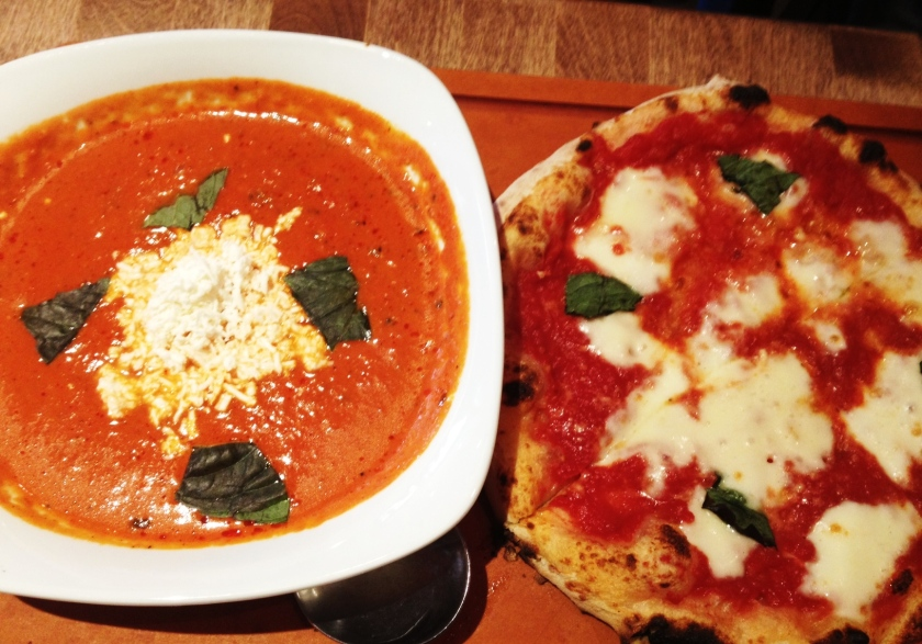 Tomato Bisque and Margherita Pizza