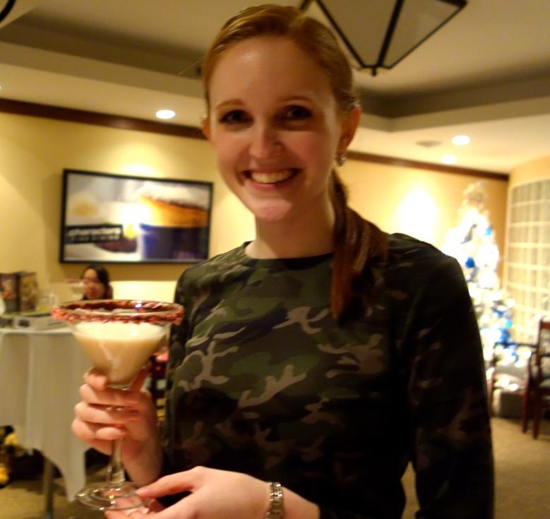 Robyn enjoying a Chicken Bone Martini