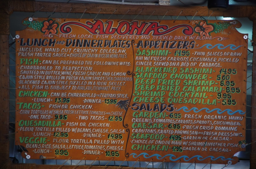 Paia Fish Market Menu