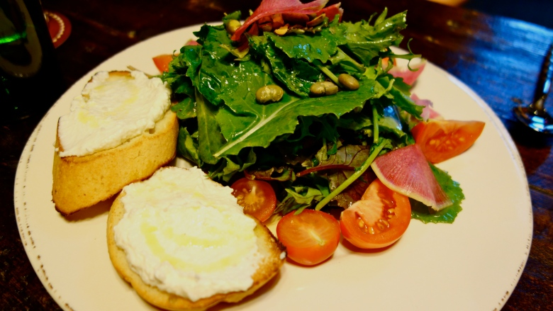 Salad with Ricotta Crostini