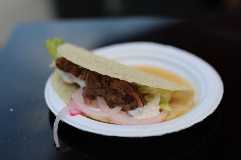 Braised beef tongue taco