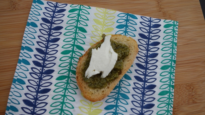 Crostini with Bocconcini and Pesto
