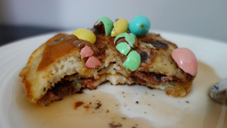 Eating my Mini Egg Pancakes